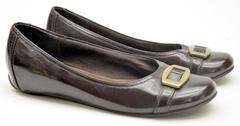 """LIZ CLAIBORNE """"Lisbon"""" Faux Patent Leather Buckle Ballet Flats Women's Size 7M"""