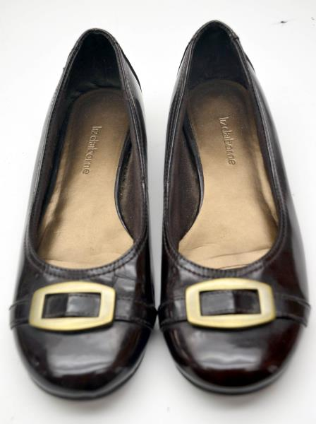 Liz Claiborne Lisbon Faux Patent Leather Buckle Ballet Flats Women Size 7 M