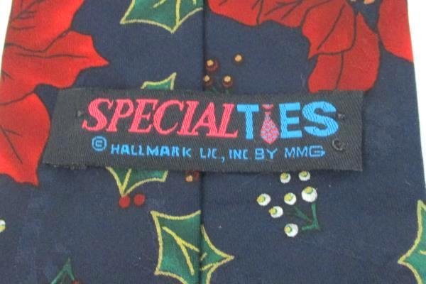 Hallmark Men's Tie Necktie Red Blue Christmas Holiday Poinsettia Specialties