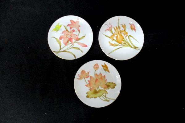 """Lot of Three Plates Flower And Butterfly 6.5"""" Vtg White Ceramic With Gold Trim"""