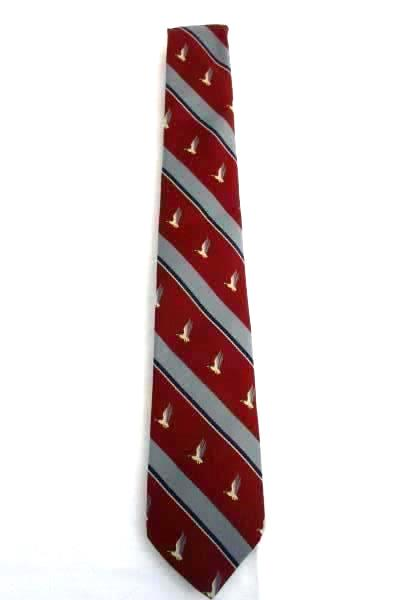 Vintage Oakton Ltd Men's Tie Necktie Striped Maroon Gray Ducks in Flight Pattern