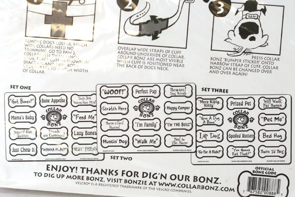 COLLAR BONZ Set of 33 Dog Bone Collar Fun Sayings Charms