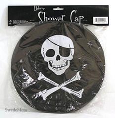 Black PIRATE FLAG Skull & Crossbones Wired Shower Cap New Gift Humor