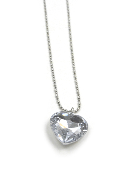 18K GP SILVER Crystal Heart Necklace and Earrings Set
