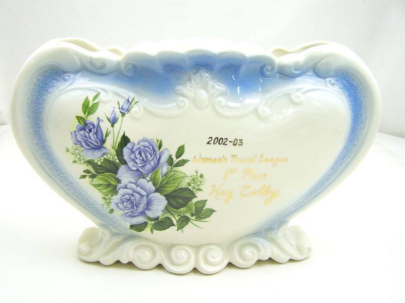 Vintage Women Travel League 1st Place TROPHY Heart Shaped Vase Blue Roses