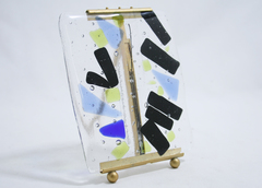 Hand Blown Glass Tile With Brass Stand