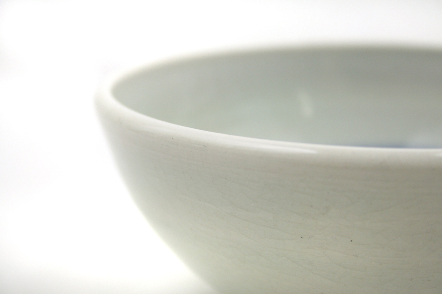 Vintage Pottery Pale Grey White Blue Bowl Signed SUPIN