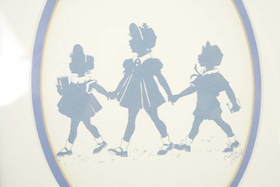 "9"" x 11"" FRAMED Oletta Wald Silhouette Art SCHOOL CHILDREN"