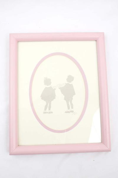 "9""x 11"" FRAMED Oletta Wald Silhouette Art 2 Child Carolers"