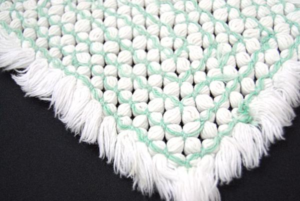 Vintage Green And White Woven Pot Holder