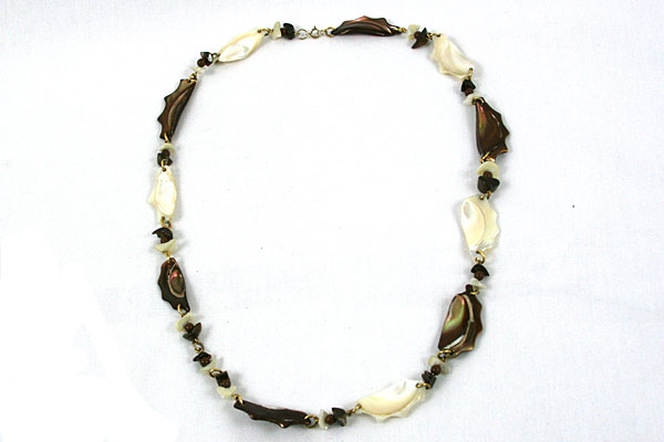"""30"""" White Abalone and Brown Shell with Beads Necklace Handmade Unique Eclectic"""