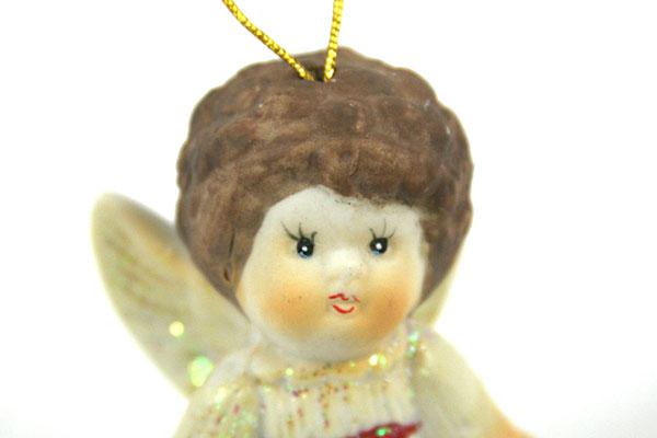 """3"""" Brunette Angel in White Dress with Glitter - CERAMIC ORNAMENT"""