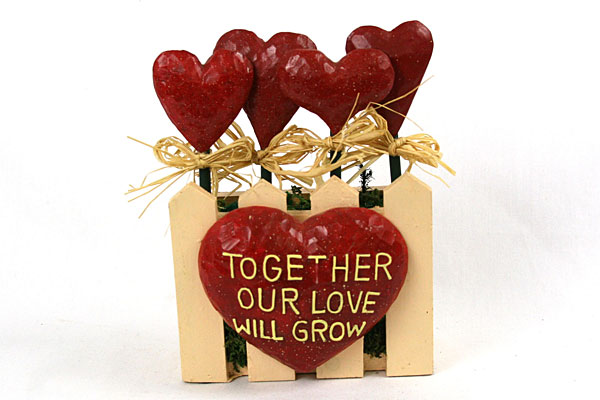 Decorative Planter Hearts with Picket Fence Together Our Love Will Grow