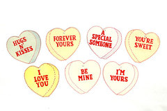 VALENTINES DAY PAPER HEARTS w/ SAYINGS - Clear Strings for Hanging - Set of 7