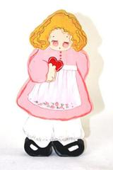 """10"""" Painted Wood Wall Hanging - Girl with Red Heart"""