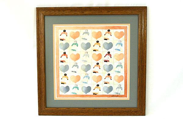 Lotti Avila Dolls & Hearts Print in Wooden Frame