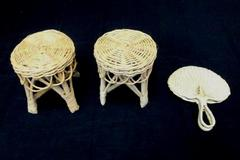 Vtg Mini Doll Wicker Furniture 3 Pcs Living Room Patio Tables Spade Fan Decor