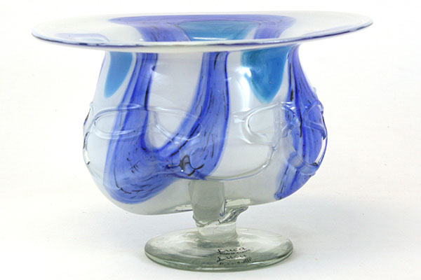 """11"""" Blue And White Art Deco Molded Glass Bowl"""