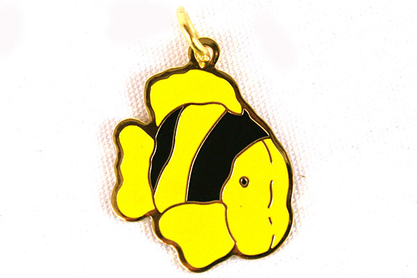 "1"" Yellow Clown Fish Enamel Pendant"