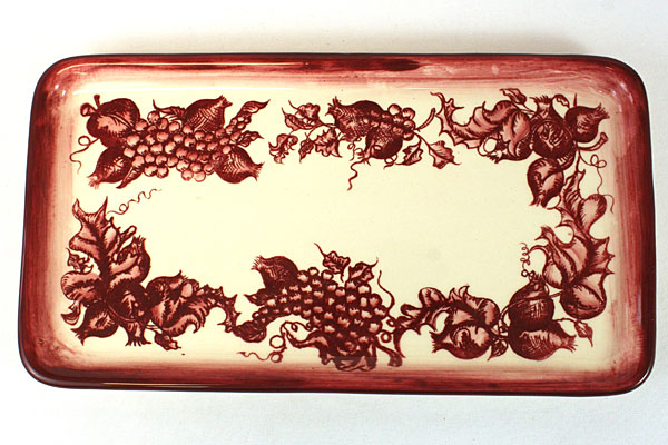 Saparna Sandwich Tray Cream Colored with Vine Grape Pattern