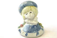 Ceramic Victorian Girl With Kitty Figurine