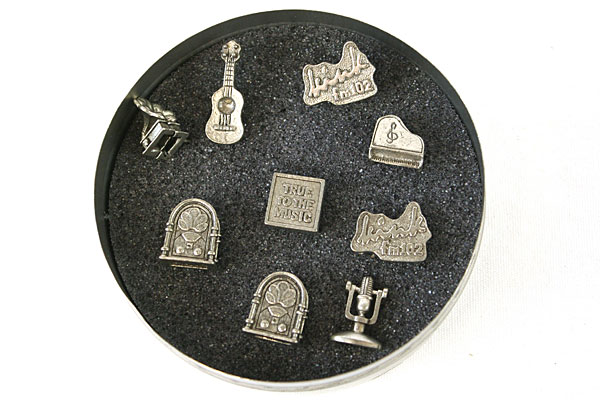 Set Of KINK Radio Pewter Hat Pins In A Tin