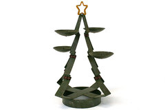 Papel Giftware Green Metal Christmas Tree Votive Candle Holder Kathy Sulewski
