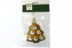 Decorative Gold Toned XMAS Trims Tree with Bells Ornament