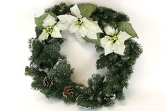 1991 Enesco White Poinsettia Wreath