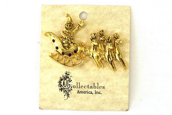 Gold Tone Santa and Reindeer Brooch Pin By Collectables America Inc