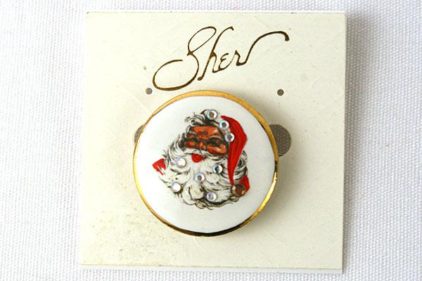 Santa Enamel Pin w/ White Rhinestones By Sher