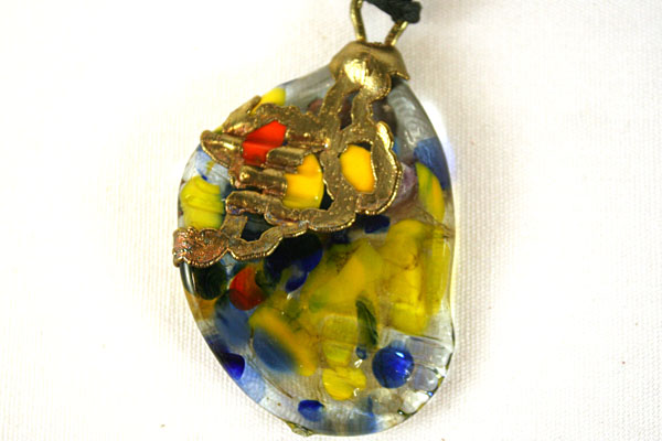 "15.5"" Art Nouveau Brass and Glass Necklace CONFETTI"