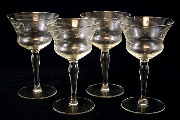 Set Of  Four Crystal Wine Glasses Floral Vine Design (As-Is)