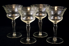 Set Of  Four Crystal Wine Glasses Floral Vine Design (As-Is)