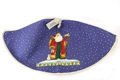 Stevens Linen Santa In the Snow Tree Skirt Christmas Holiday Blue White Decor