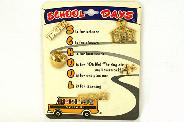 Roman, Inc. School Days 5 Pin Set New On Display Card