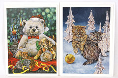Set of 2 Happy Holidays Lithograph Cards Kitten And Bear By Sheila Somerville