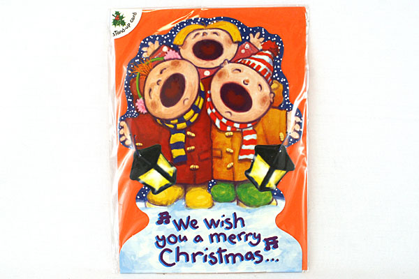 Handmade in England Christmas Carolers Stand-Up Cards Blank Inside
