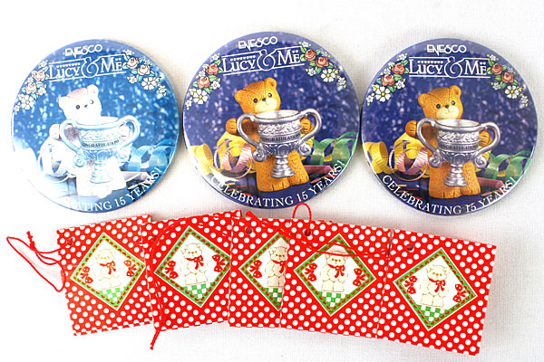 Lot of Lucy & Me Enesco Tags and Celebrating 15 Years Enesco Buttons