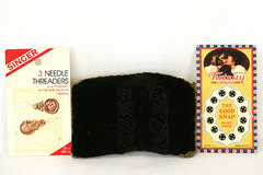Homemade Black Velvet Pin Cushion, Snaps And Needle Threaders