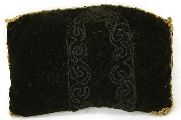 Homemade Black Velvet Pin Cushion, Snaps And Needle Threaders