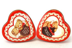 Enesco Red Heart Tin Box Set - Chocolate Is Gift of Love/Makes Heart Grow Fonder