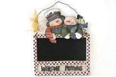 Santa's Workbench Welcome Friends Snowman Chalkboard Wall Hanging