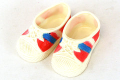 1980 M.&S. Stillman Inc.Plastic Red, White And Blue Doll Tennis Shoes