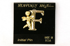 Heavenly Angel Gold Colored Metal Brooch Pin - Initial F Made in the USA