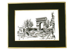 Illustrated Arc De Triomphe Framed Print Dated 1998 with Signature of Artist