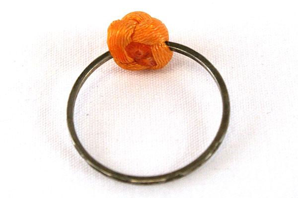 Vintage Size 5 Orange Floral Knot Silver Tone Ring