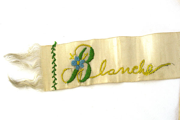 Ribbon Blanche Irene Name Embroidered Memorial Sash Neck Band