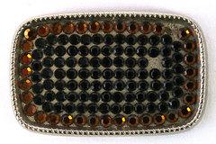 Silver Tone Belt Buckle With Orange And Black Rhinestones Made in USA