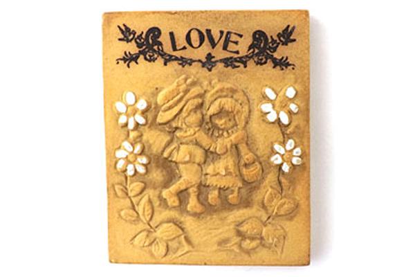 Vintage Miniature Love, Joy And Happiness Ceramic Plaques